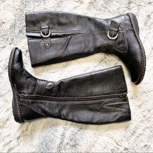 B.O.C Mid calf pebble leather riding boots 6M-WC